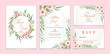 Wedding Invitation Set Red Geranium Flowers and Leaves with Golden Frame. Floral Save the Date, Thank You, and RSVP Template.
