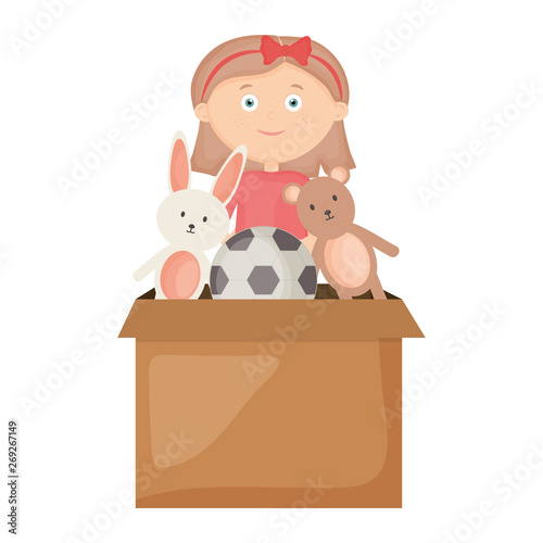 Canvas Prints Bears cute little girl playing with toys box