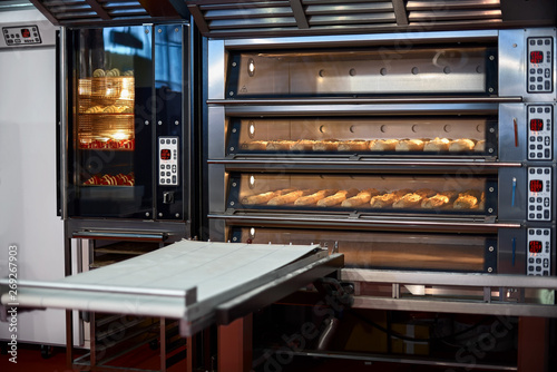Fototapeta Industrial convection oven with cooked bakery products for catering. Professional kitchen equipment obraz