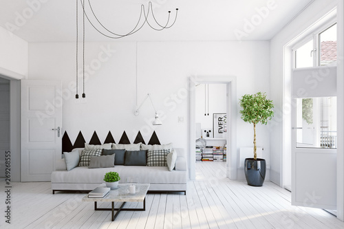 modern  living interior design. - 269268555