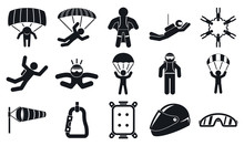 Skydivers Icons Set. Simple Se...