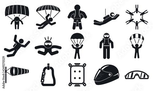 Fotografie, Obraz Skydivers icons set