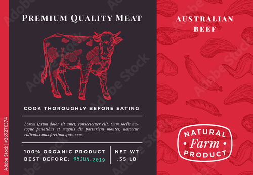 Pinturas sobre lienzo  Premium Quality Meat Abstract Vector Beef Packaging Design or Label