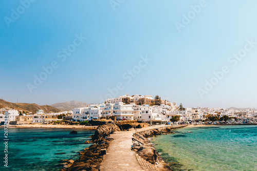 Cityscape of Naxos town on a sunny day, Naxos, Greece фототапет