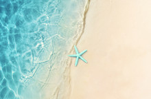 Starfish On The Summer Beach. Summer Background. Tropical Sand Beach