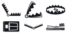 Trap Catch Icons Set. Simple S...