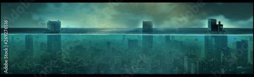 Nuclear underwater city, apocalyptic landscape, digital art Canvas Print