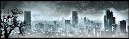 Fotografia  Nuclear winter, apocalyptic landscape, digital art