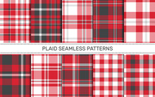 Set Of Plaid Seamless Patterns.