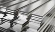 Leinwandbild Motiv Warehouse of steel plates. Rolled metal products.