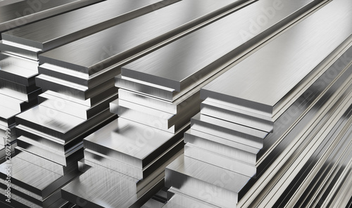 Stampa su Tela Warehouse of steel plates. Rolled metal products.