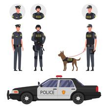 Policemen With A Dog, Police Car