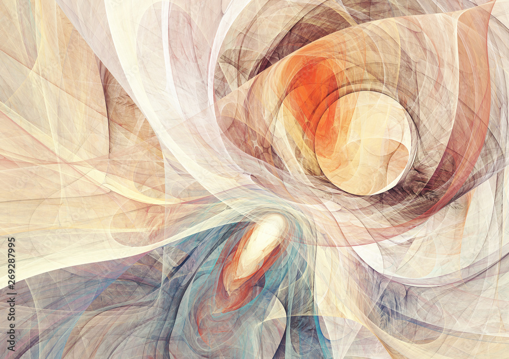 Fototapety, obrazy: Ying yang balance. Abstract bright motion composition. Modern futuristic dynamic background. Yellow and blue color artistic pattern of paints. Fractal artwork for creative graphic design