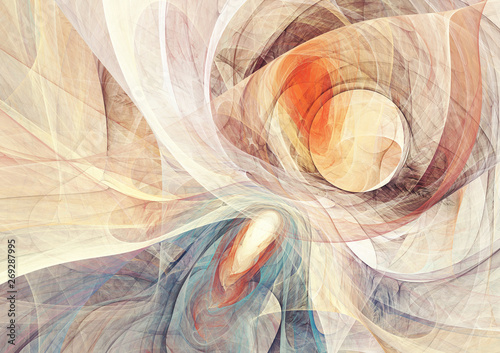 Ying yang balance. Abstract bright motion composition. Modern futuristic dynamic background. Yellow and blue color artistic pattern of paints. Fractal artwork for creative graphic design