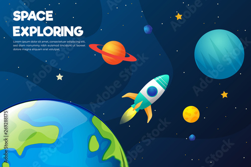 Photo Stands Night blue universe background with abstract shape and planets. Web design. space exploring.