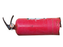 Red Old Rusty Fire Extinguisher. Isolated On White.