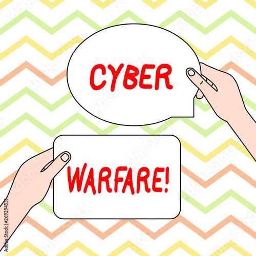 Photo  Conceptual hand writing showing Cyber Warfare