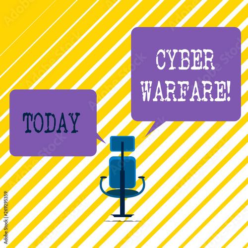 Photo  Writing note showing Cyber Warfare