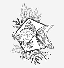 Goldfish, Plants And Geometry. Modern Illustration. Great For Printing On T-shirts, Tattoo Sketches. Vector