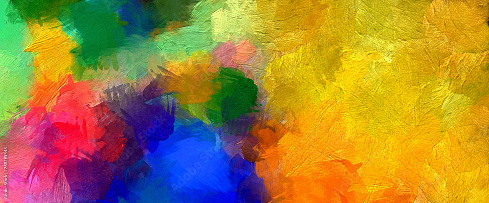 Fototapety, obrazy: Abstract colorful stripes. Digital design painting impressionism artwork. Hand drawn artistic pattern. Modern art. Good for printed pictures, postcards, posters or wallpapers and textile printing.