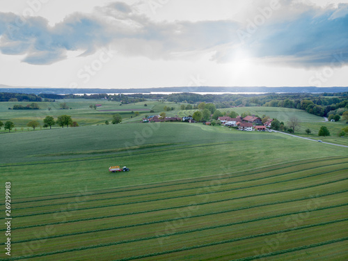 Aerial view of Bavarian landscape and agricultural field in the sunset