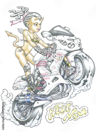 Printed kitchen splashbacks girl on motorcycle