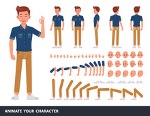 Man Wear Blue Jeans Shirt Character Vector Design. Create Your Own Pose.