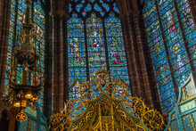 The Ornate Stained Glass Over The Altar At Liverpool Anglican Cathedral.