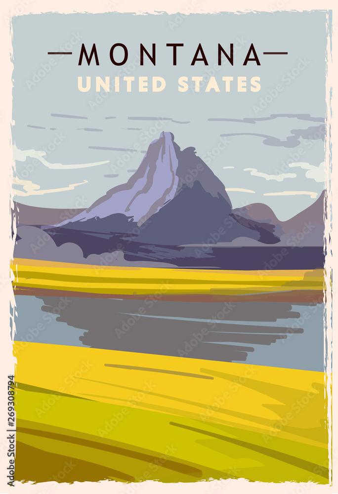 Fototapety, obrazy: Montana retro poster. USA Montana travel illustration.