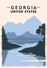 Hawaii Retro Poster. USA Hawaii Travel Vector Illustration.