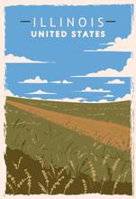 Illinois Retro Poster. USA Illinois Travel Illustration.