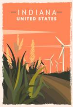 Indiana Retro Poster. USA Indiana Travel Illustration.
