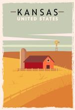 Kansas Retro Poster. USA Kansa...