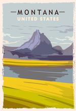 Montana Retro Poster. USA Mont...