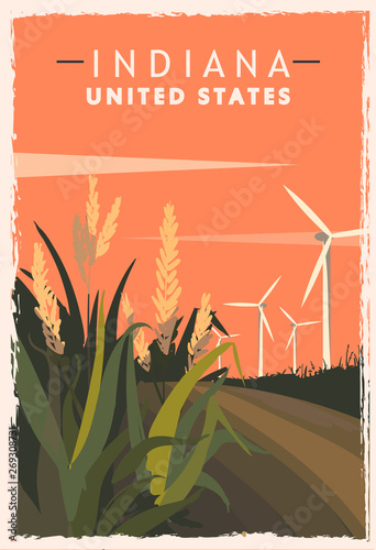 Fényképezés Indiana retro poster. USA Indiana travel illustration.