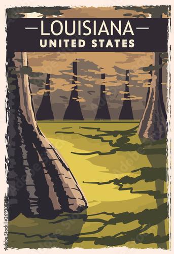 Photo Louisiana retro poster. USA Louisiana travel illustration.