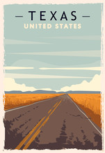 Texas Retro Poster. USA Texas ...