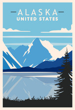 Alaska Vintage Retro Poster. U...