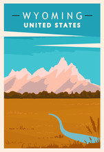 Wyoming Travel Retro Poster. U...