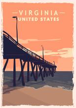 Virginia Retro Poster. USA Virginia Travel Illustration.