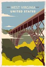 West Virginia Retro Poster. USA West Virginia Travel Illustration.