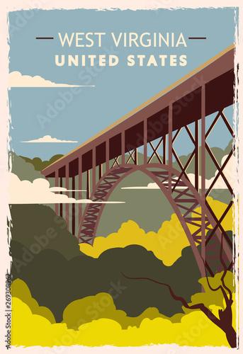 Canvas Print West Virginia retro poster