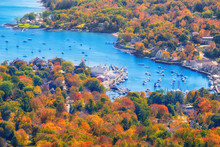 View From Mount Battie Overlooking Camden Harbor, Maine. Beautiful Autumn Foliage Colors In October.