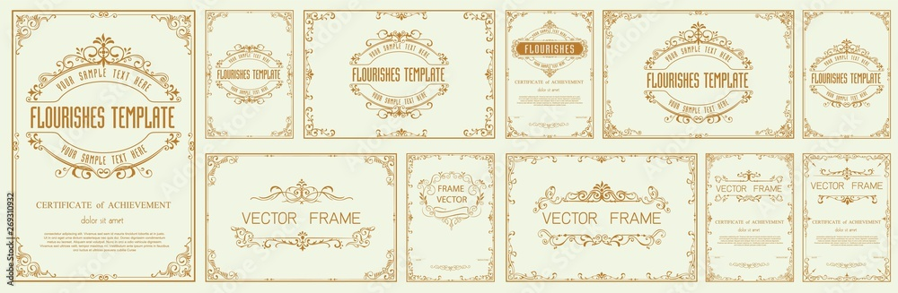 Fototapeta Set of Decorative vintage frames and borders set,Gold photo frame with corner