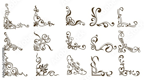 Decorative of Calligraphy swirls swashes ornate motifs and scrolls Vector illust Wallpaper Mural