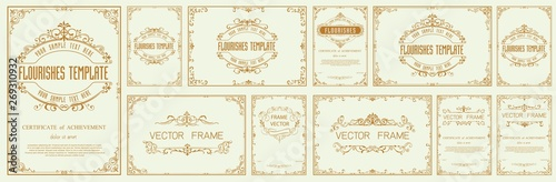 Obraz Set of Decorative vintage frames and borders set,Gold photo frame with corner - fototapety do salonu