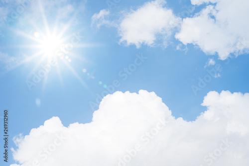 Foto auf Leinwand Texturen Blue sky cloud sun light background hot high temperature summer day