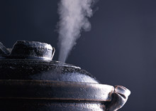 Cooking Place With Hot Steam In The Process Of Steaming Dishes