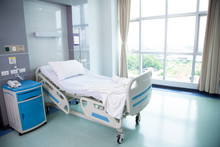 Recovery Room With Beds And Comfortable Medical. Interior Of An Empty Hospital Room.