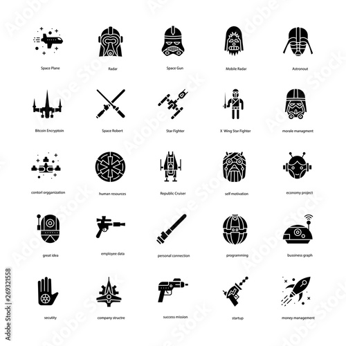 Photo Star War Solid Icons Set